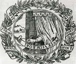 ПИСАТЕЛЬ, СКРЫВАЮЩИЙСЯ ЗА ЗАНАВЕСОМ Гравюра из книги Г. Пичема, 1612 г.
