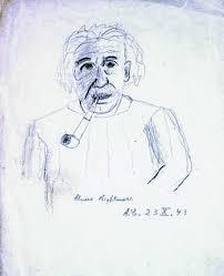 Альберт Эйнштейн. Автопортрет.  Б., цв. кар. 1943. Собрание  Архива РАН, разряд V, опись  № 3-э, д.1 а, л. 9.